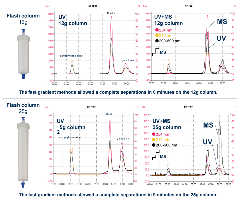 Purification of a natural products mixture on 12g and 25g Normal phase flash column
