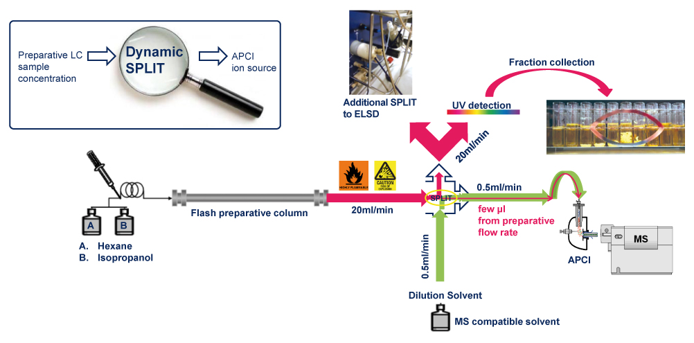 Scheme of the post column make-up pump dilution