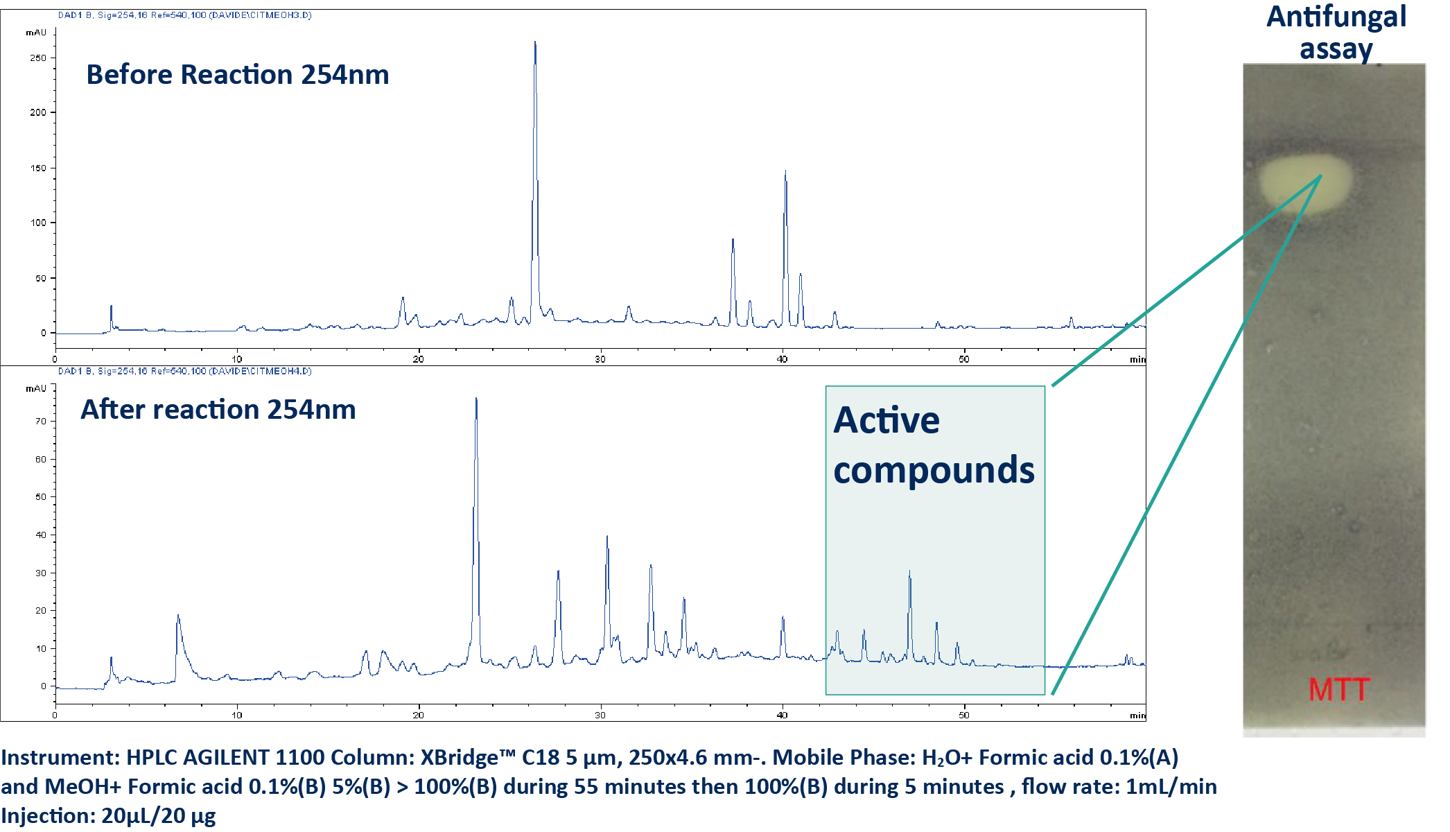 HPLC UV analysis of the crude extract after and before reaction